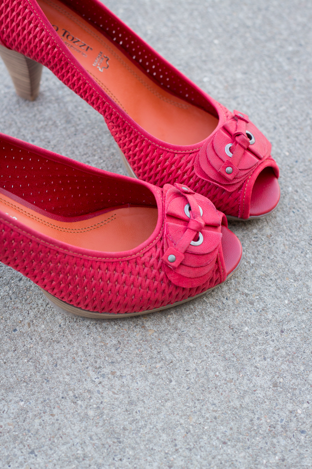 red peep toes from Marco Tozzi