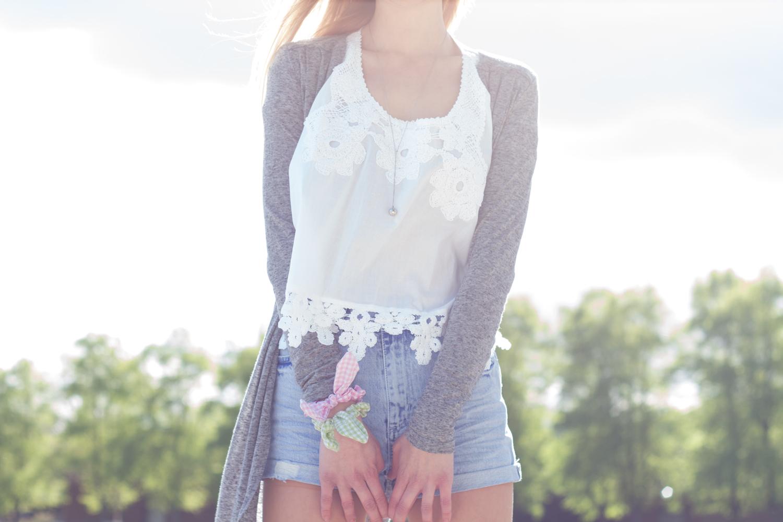 Weißes Shirt mit Häkel-/Spitzendetails & Jeansshorts // embroidered shirt & denim shorts
