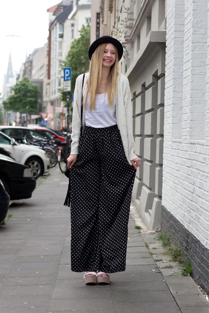 Strickjacke, Hose mit weitem Bein & Hut // cardigan, wide leg trousers & hat