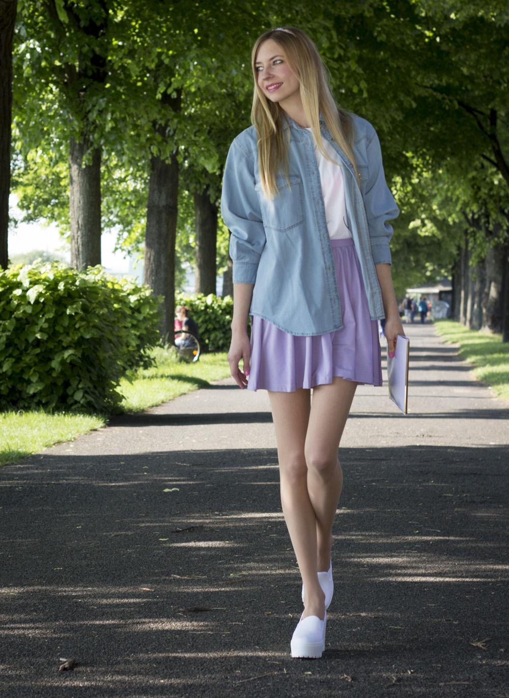 Boyfriend Jeanshemd & Skater Skirt // boyfriend denim blouse & skater skirt