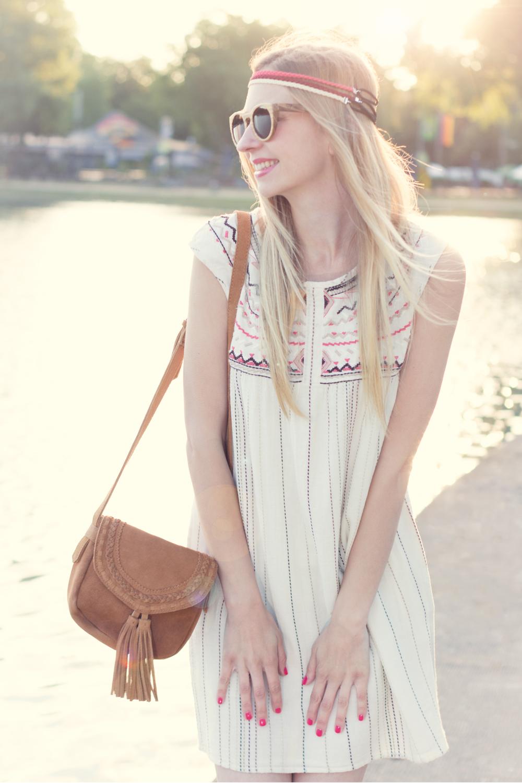 leather bag / dress / wooden sunnies / headbands