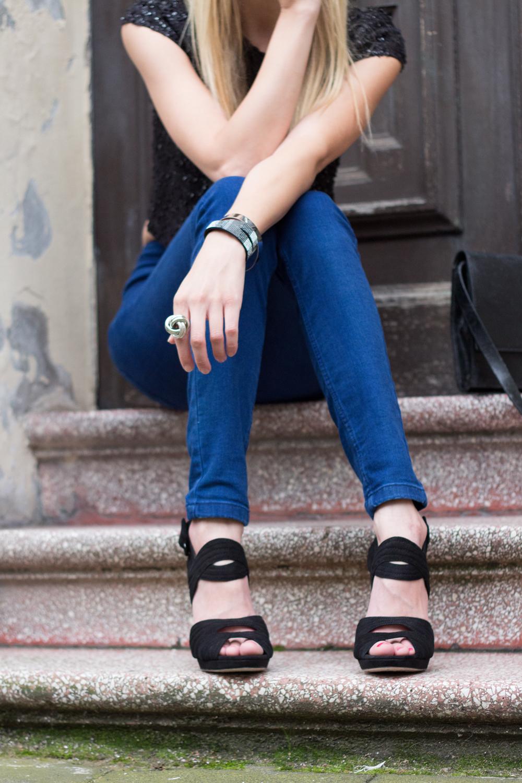 details: Zara high heels & bracelets