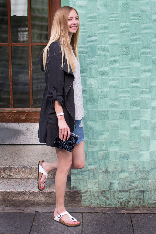 oversized coat & sweater, denim skirt, Birkestock sandals & clutch