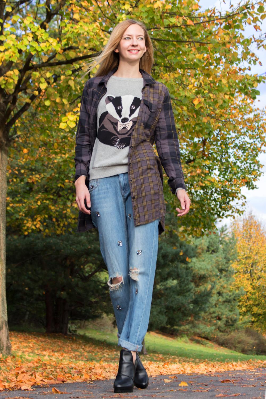 boyfriend jeans by Zara, sweater by Sugarhill, blouse by Blend She