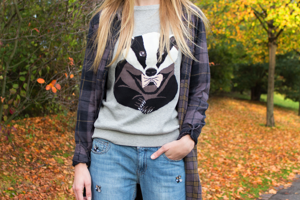 details: badger print sweater by Sugarhill
