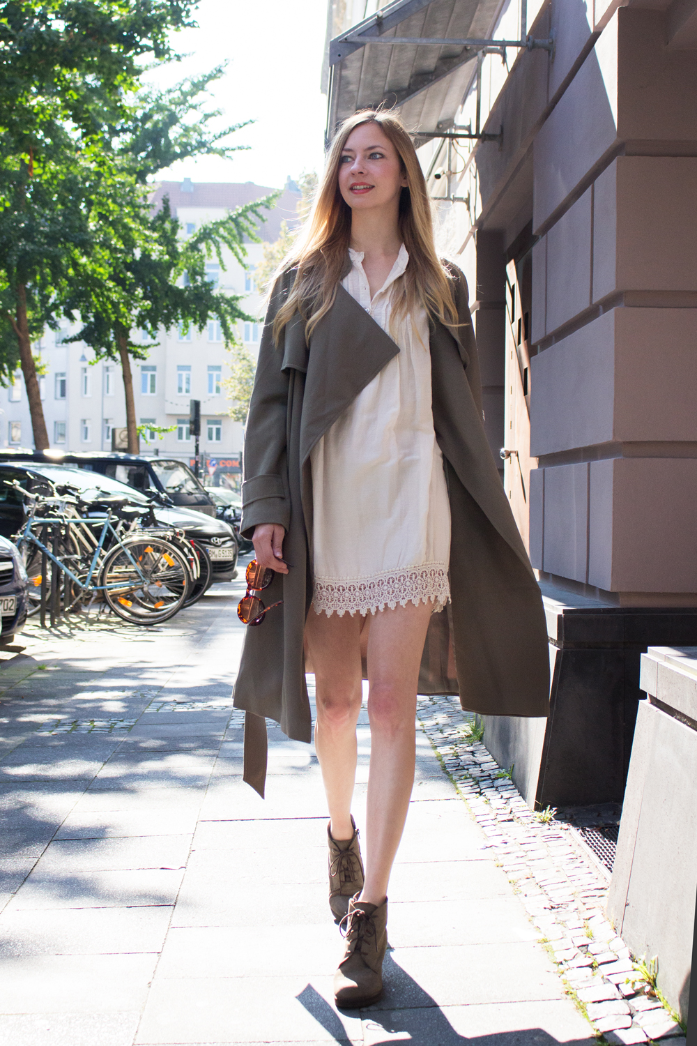 boho dress & trench coat