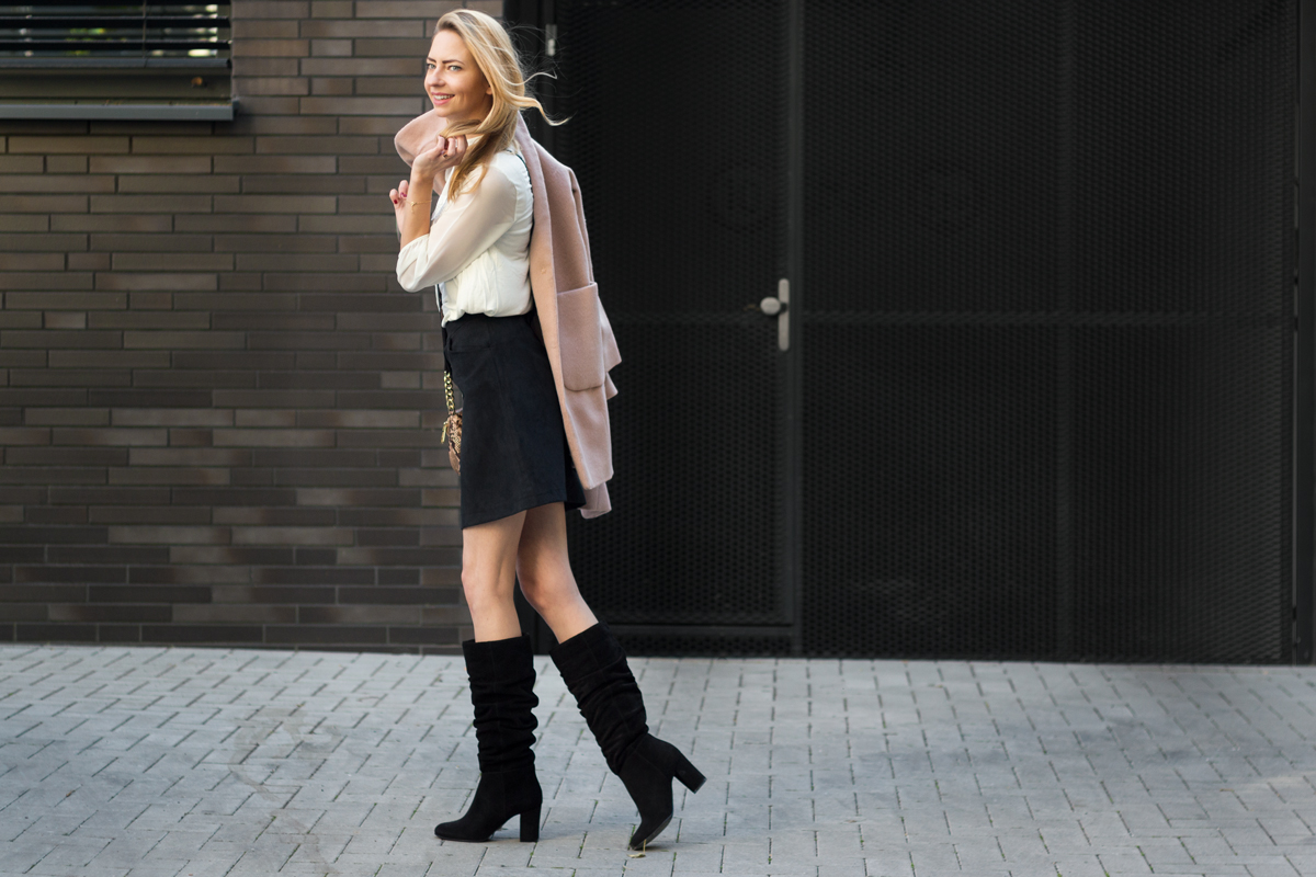 Oversized Coat, Boots & Skirt